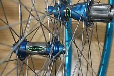 """Hope Ti Glide Blue Aero Rims 26"""" Wheels XC Mountain Bike Wheelset Pair Titanium"""