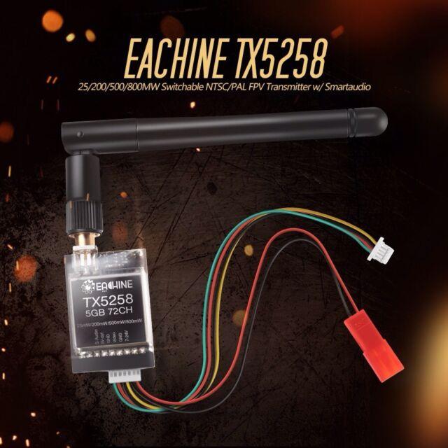 Eachine TX5258 FPV Sender  25mW - 800mW regelbar OSD 5.8G 72Ch Transmitter