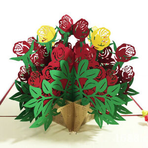 3D-Pop-up-Rose-Flower-Paper-Greeting-Card-Valentine-039-s-Day-Romantic-Gift-Wide