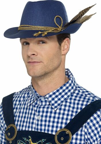 Fancy Authentic Bavarian Oktoberfest Hat with Feather Blue Fit for Halloween