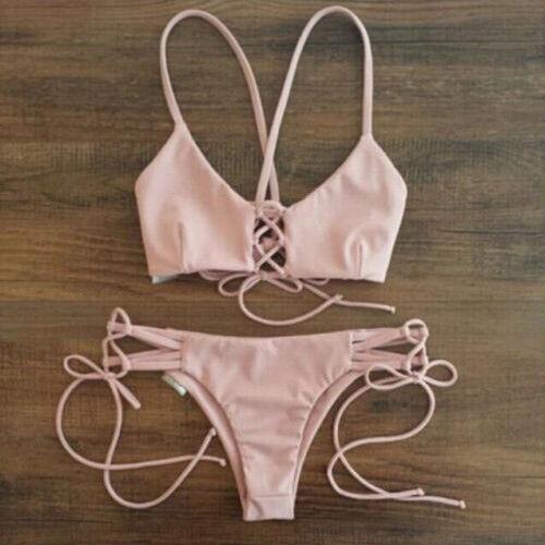 Sexy Women Bandage Bikini Swimwear Swimsuit Push up Beachwear Triangle Brazilian