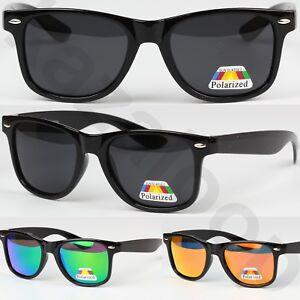 Unisex-Polarized-Lens-Glossy-Frame-Square-Sunglasses-Vintage-Retro-UV400