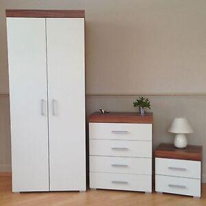 Bedroom furniture set white walnut wardrobe 4 drawer - Walnut bedroom furniture sets uk ...