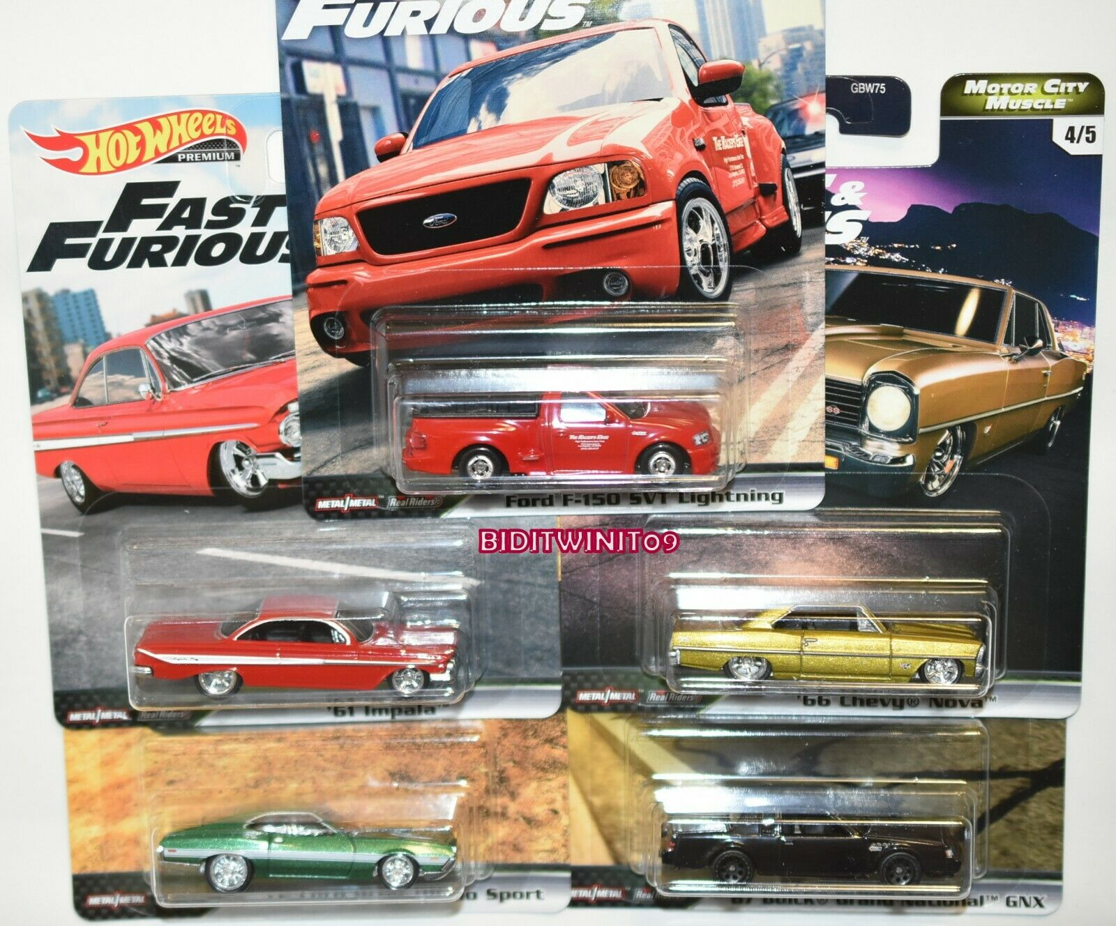HOT WHEELS 2020 FAST & FURIOUS PREMIUM SET 5 CAR MOTOR CITY MUSCLE CHEVY FORD
