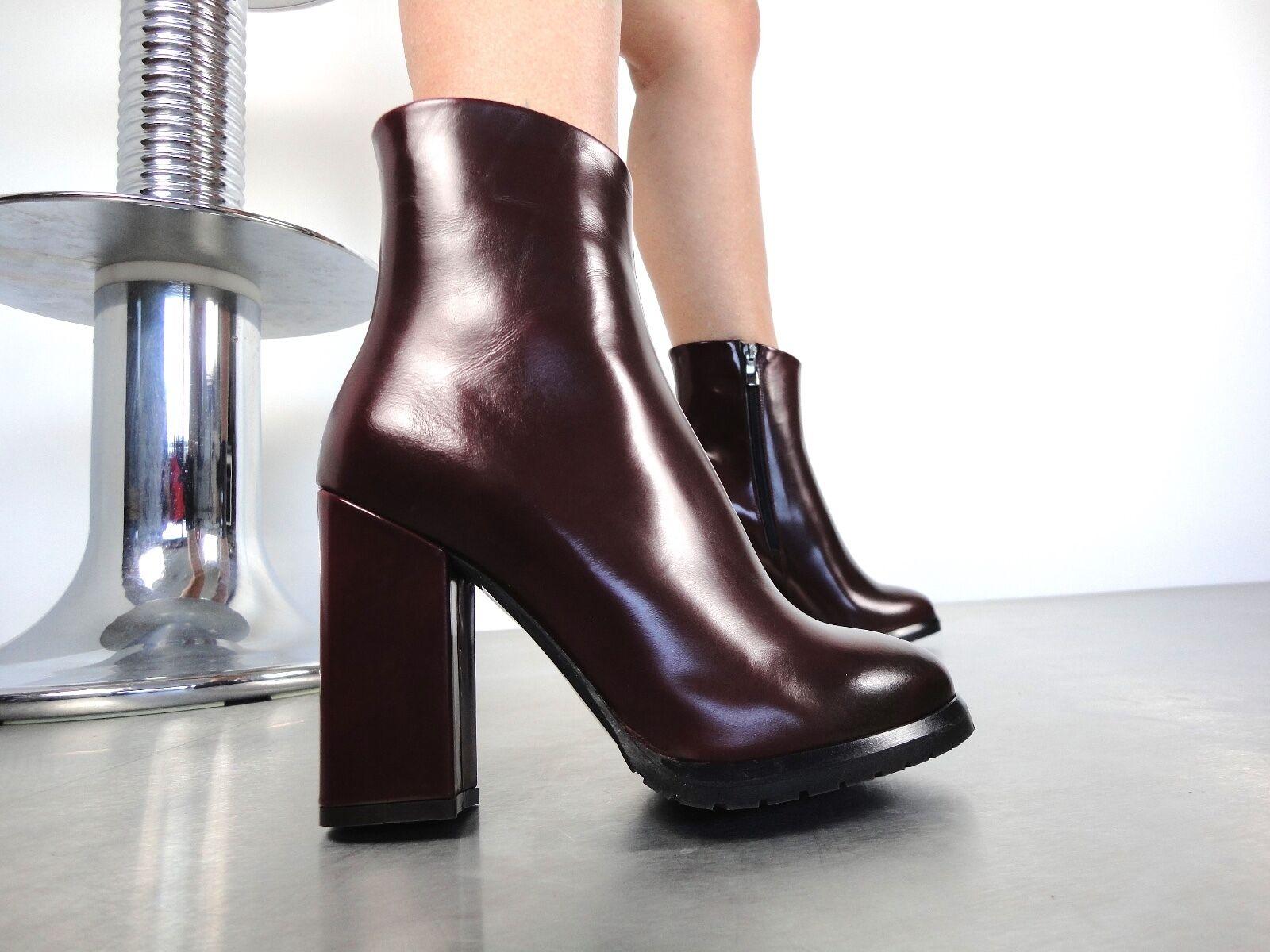 CQ COUTURE ANKLE ANKLE ANKLE HIGH BIKER HEELS BOOTS STIEFEL BOOTS LEATHER RED BURGUNDY 35 30b0d6