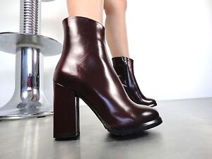38 Cq Boots Red High Biker Bordeaux Stiefel Heels Ankle Stivali Leather Couture XzPqBxrwX