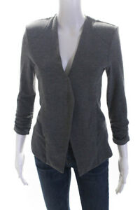 Tart-Womens-Ruched-3-4-Sleeve-Open-Front-Blazer-Jacket-Dark-Gray-Size-Large