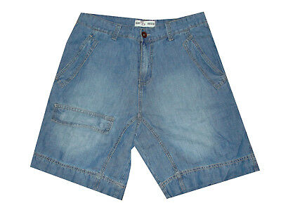 Bermuda Jeans Uomo Shorts Denim Corto Largo Chino Tasca America Blu M L Xl Xxl Acquisto Speciale