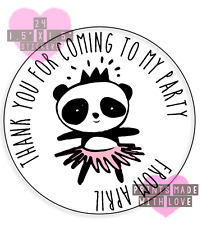 Personalised ballet panda 24 party bag stickers sweet cone labels thank you pb