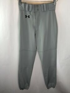 Men-039-s-Under-Armour-Gray-Black-Logo-Athletic-Softball-Baseball-Pants-Size-Small