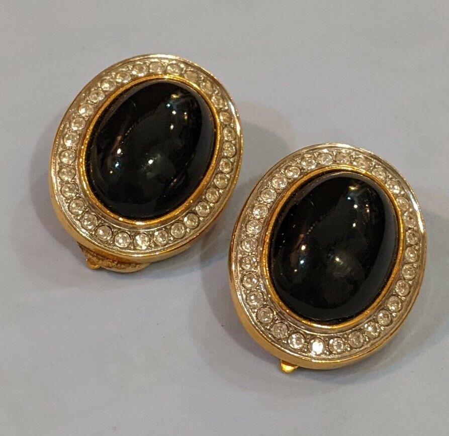 Vintage LANVIN Black Oval Onyx Cabochon Clip On E… - image 1