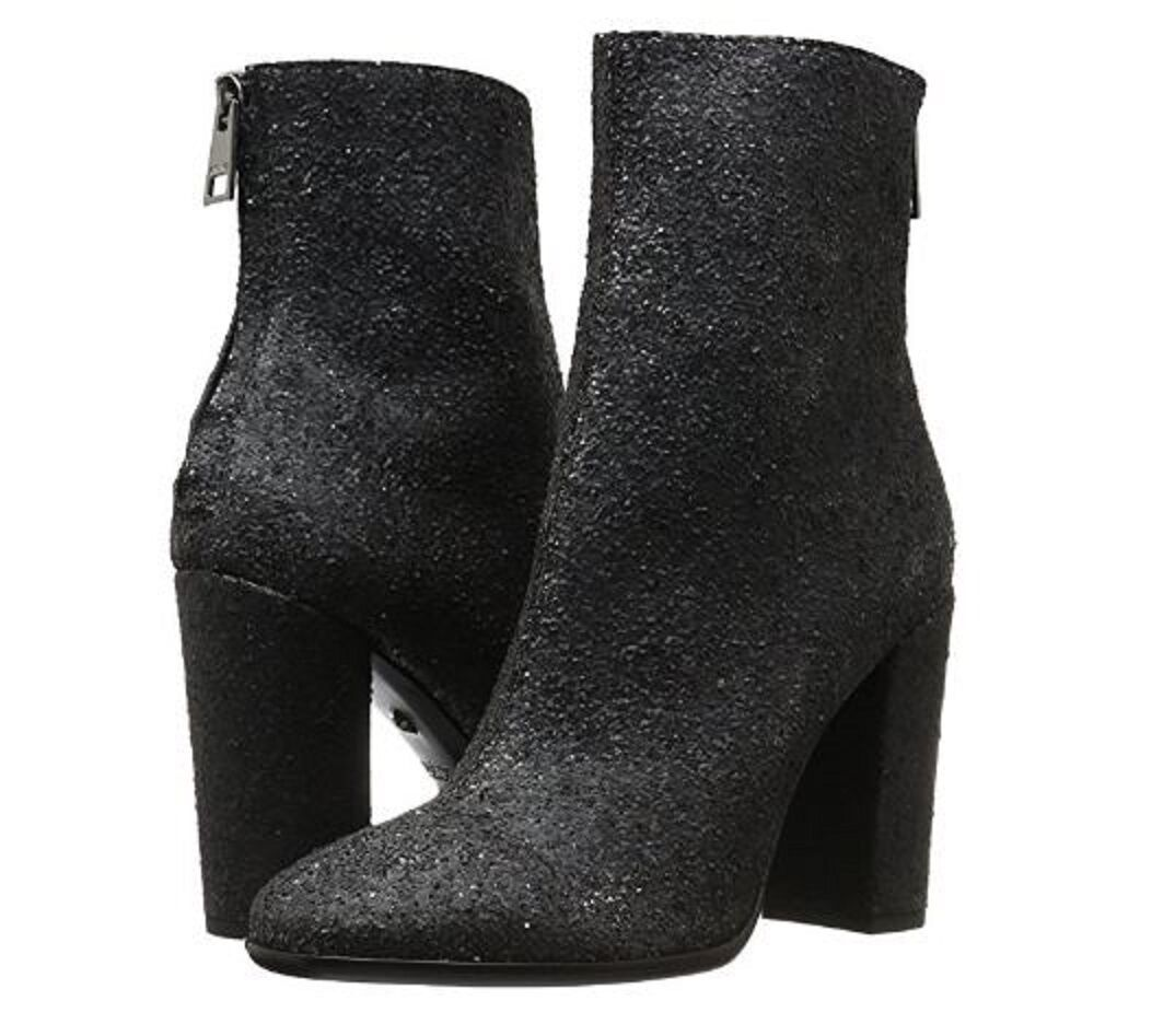 545 NEW Just Cavalli US 7 Glitter Black Leather Classic Ankle Boots Booties BOX
