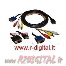 CAVO ADATTATORE HDMI MASCHIO a VGA + RCA TV AUDIO VIDEO CONVERTITORE MONITOR