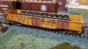 Athearn-HO-Rio-Grande-50-039-custom-weathered-Gondola-freight-car-with-wheel-load