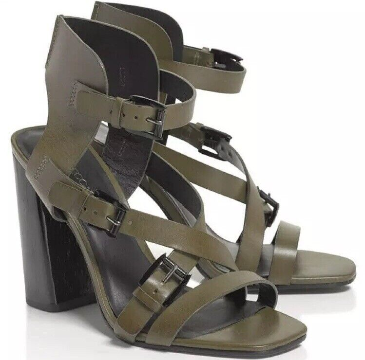 Rebecca Minkoff Pip Green Leather Black Wood Buckle Strappy Heel Sandal 5.5 35.5