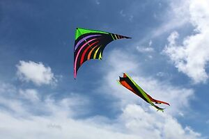 Rainbow Twister Delta Shape with Flying Line and Handle 5 FT Wide 40M Line- Easy