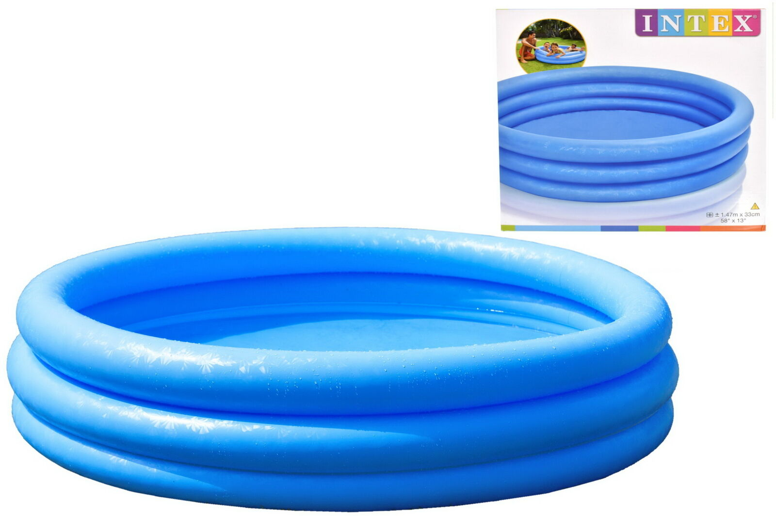 Intex Inflable Tres Anillo Cristal blue Jardín Piscina Infantil