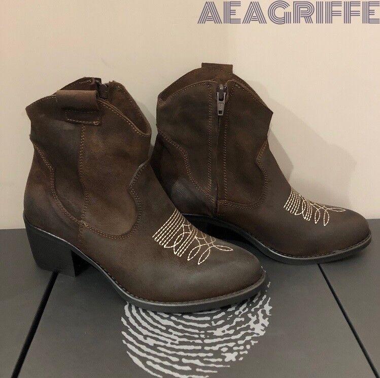Frauen Stiefel Ankle aus Leder camperos Texanisch niedrig Made in Italien braun  | Qualität Produkt