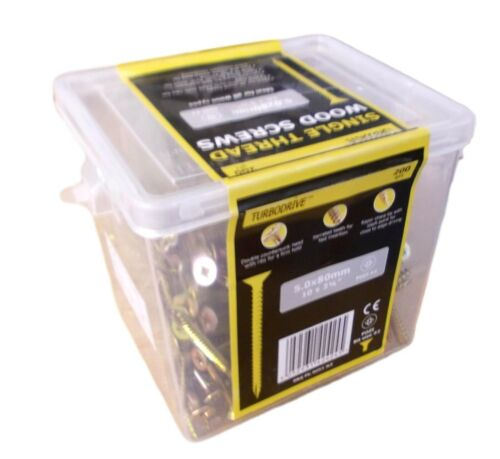 New 5mm x 200 Pack TURBODRIVE  Yellow Zinc Plated PZ Steel Screws L Dia 80mm