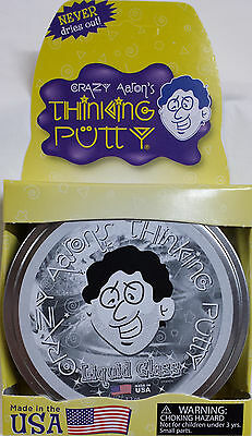 """Liquid Glass Crystal Clear Crazy Aaron's Thinking Putty Large 4"""" tin 3.2oz New"""