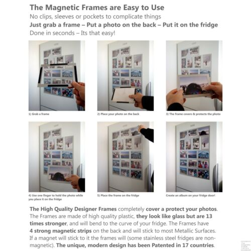High Quality Designer Magnetic Picture Frames 12 Pack of 6x4 Photo Frames
