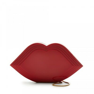 Lulu Guinness Glossy Red Stacked Perspex Lips Clutch-NWT-RP: $360