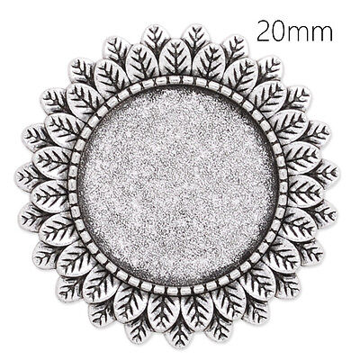 10Pcs 20MM Round Shallow Bezel Brooch Pin Blank Bases Safety Brooch Findings