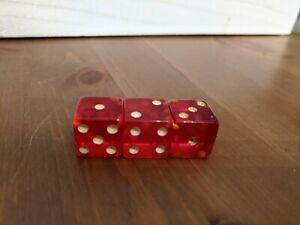 Vintage-Red-1-2-034-Bakelite-Dice-Die-1950-039-s