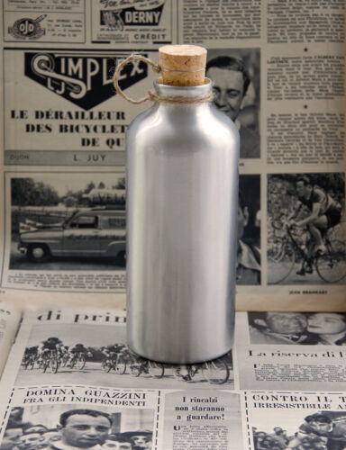 Vintage 1950/'s Style Bicycle Aluminium Drinks Water Bottle with Cork L/'Eroica