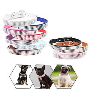 Dog-Cat-Collar-Multi-colour-Diamante-Crystal-Rhinestone-PU-Leather-Safety-Band