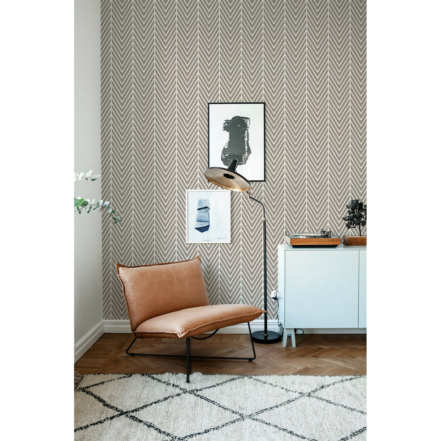 Latte Herringbone Non-Woven wallpaper Simple wall mural Geometric Home decor