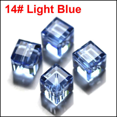 Wholesale Cube Crystal Glass Loose Beads Fit Jewelry DIY Making 4mm 6mm U Pick