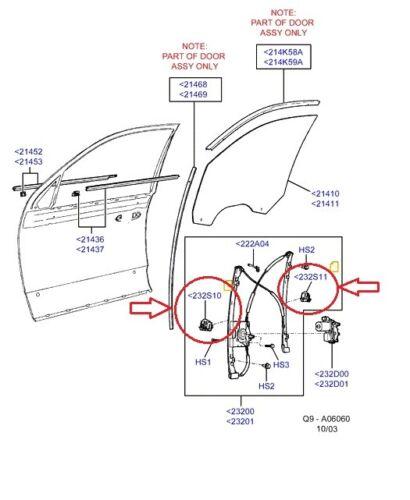 Genuine Ford Territory SX/SY/SZ Door Window Sliders x2