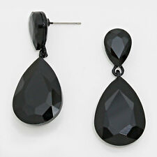 "Rhinestone Earrings Double Teardrop Crystal BLACK 1.75"" Drop Glam Prom Evening"