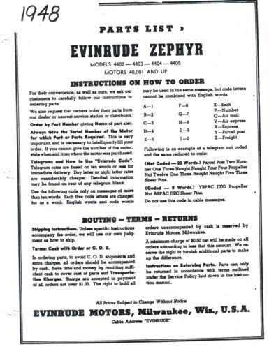 4403 Parts List Manual 1948 Evinrude Zephyr Model 4402 4405 4404