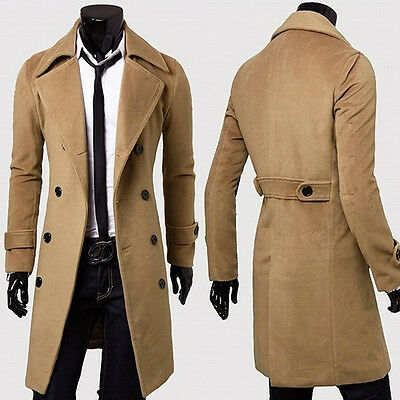 Mens Spring Wear Trench Pea Coat Long Trench Double Breasted Coat Casual Jackets