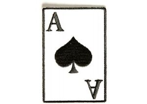"""(B3) ACE OF SPADES on WHITE 2"""" x 3"""" iron on patch (3357) Biker"""