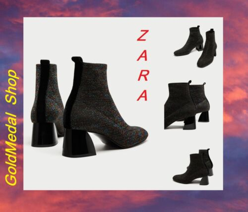 ZARA New w//Tag Sock-Style High Heel Ankle Boots With Shimmer US//EUR 7.5//38; 8//39