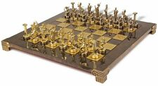 Hercules Theme Chess Set in  Nickel  and Brass - Brown Board by Manopoulos
