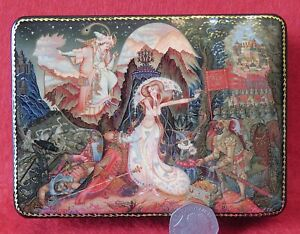 LACQUER-GICLEE-box-Tale-of-Golden-Cockerel-Shamakhan-princess-Russian-PALEKH-ART