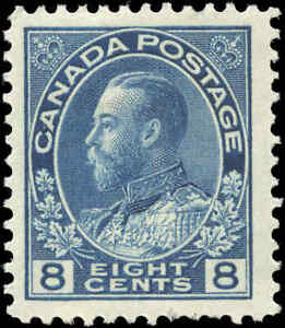Mint-H-Canada-8c-1925-F-VF-Scott-115-King-George-V-Admiral-Issue-Stamp