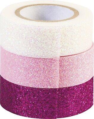 Heyda Deko Tape Glitter Rosa  3 Rollen Masking Tape Washi Klebeband Weihnachten