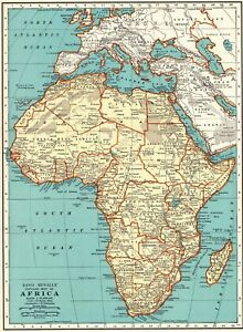 1937 Vintage AFRICA MAP Antique Collectible Map of Africa Gallery