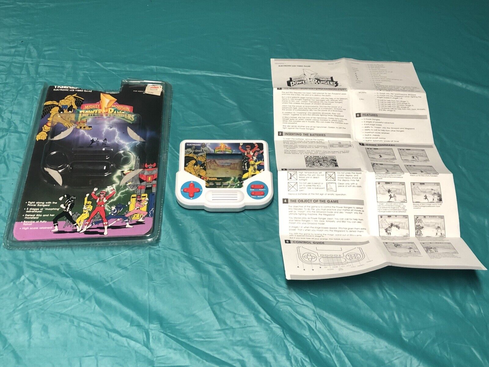 1994 Tiger Mighty Morphin Power Rangers Electronic Game W  Box And Manual
