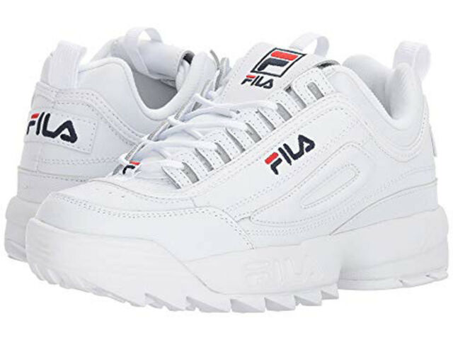 2029968a1459 FILA DISRUPTOR II PREMIUM WHITE NAVY RED 5FM00002 125 WOMENS US SIZES