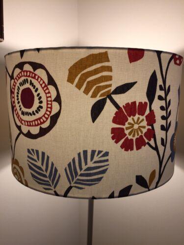 Handmade Lampshade Clarke Studio G Folki Birds Drum Scandi Scandinavian Floral P