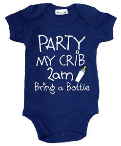 034-Party-My-Crib-2am-bring-a-Bottle-034-Funny-Baby-Bodysuit-Baby-grow-Newborn-Gift