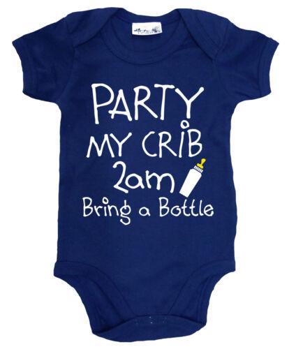 "/""Party My Crib 2am bring a Bottle/"" Funny Baby Bodysuit Baby grow Newborn Gift"