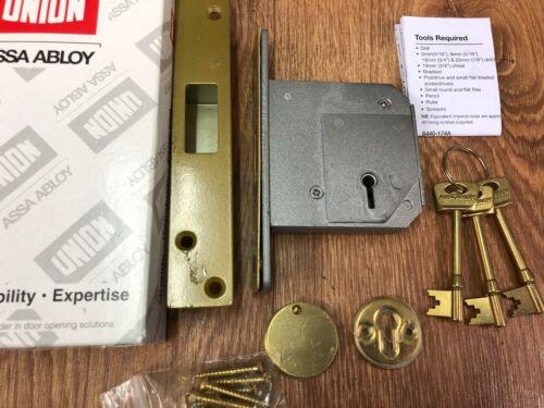 £75 Genuine Union //Chubb  3G114-80mm  5 lever  deadlock Brass Finish  RRP