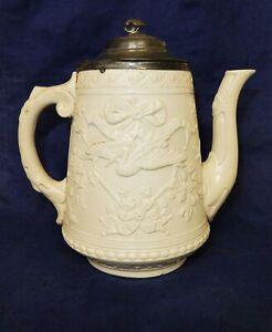 Vintage-White-Salt-Glazed-Teapot-Marked-WYE-Ribbon-Insect-amp-Stork-Detail-A